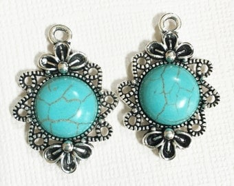 4 Turquoise cabochon with antique silver alloy setting 30x21mm, antique silver drops
