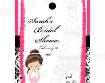 24 Personalized Bridal Shower Favor Tags  -  Paris Bridal Shower - Paris Favor Tags - Paris Wedding Favor Tags- Parisian Shower