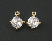 Clear Round CZ Earring Dangles or Charms Gold Prong Set Cubic Zirconia Pendant|G17-10|2