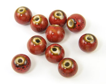 Red Ceramic Round Beads 10mm 10 Pieces |R11-16|10