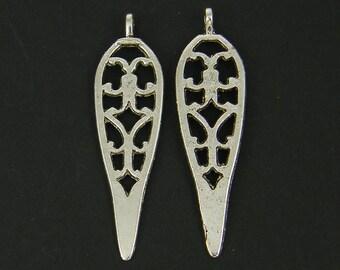 6 Pcs Spear Pendant Earring Findings Tribal Silver Cutout Leaf Earring Finding Filigree Boho Tribal Earring Drop |S9-12|6
