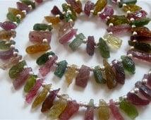 6 Inch Strand of Pretty Multi Tourmaline hammered Rock Sticks 8mm-11mm Semi precious gemstone beads