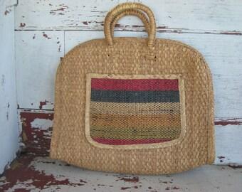 Vintage Woven Purse -  Beach Tote - Tote Bag -  Straw Market bag - 1960s Santa Fe (00136-PB)