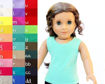 Fits like American Girl Doll Clothes - The Basic Tank, You Choose Color, Made To Order