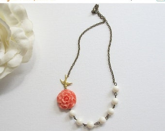 SPECIAL SALE Salmon Pink Rose, Ivory pearls, Flying Swallow bird, Pearls Necklace Wedding Jewelry Bridal Gift For Her