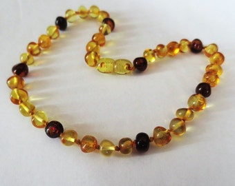 NEW Baltic Amber Round Nugget Baby Teething Necklace  BUMBLE BEES...Ready To Ship!