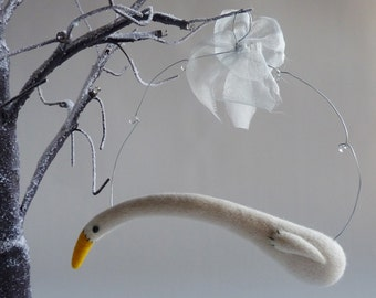 Large winter Swan,  needle felted bird ornament by Gretel Parker with gift box