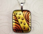 Red Gold Paw Print Dichroic Hand Etched Fused Glass Pendant