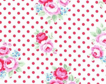 White and Red Rose Blossoms 31375 30 Fabric by Lecien Flower Sugar Sweet Carnival