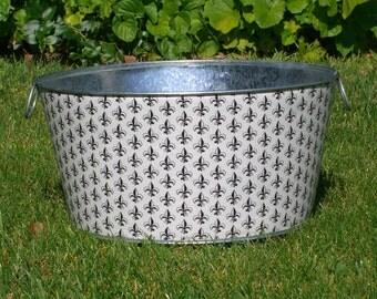 Large Round Galvanized Party Tub French Fleur De Lis