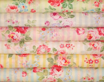 SALE 1/2 Yard Fabric Bundle Stripe Bouquet Roses 31264 by Lecien Fabrics Princess Rose Collection Clearance 3 Yds Total
