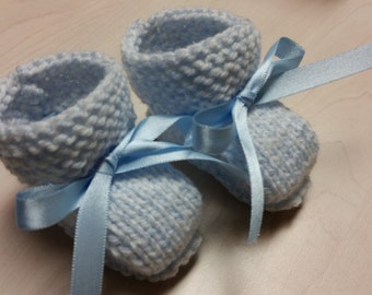 Baby Boy Booties, Hand Knitted Booties, Newborn Booties, Baby Boy Blue 0 to 3 months Booties, Blue Booties, Infant Booties