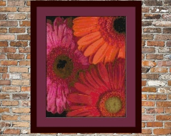 Multi Colored Gerberas Counted Cross Stitch Pattern