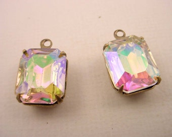 4 vintage glass Crystal AB aurora borealis octagon 12x10 brass ox  Prong Settings 1 Ring Closed Backs charms