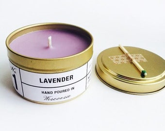 Lavendar Scented Gold Tin Candle