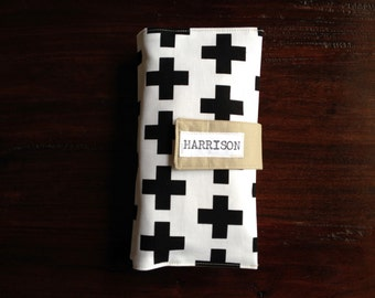 Diaper Clutch, Nappy Wallet, Black and White Swiss Cross, Scandinavian Style, Personalized, Monogram, On-The-Go, Baby Shower Gift