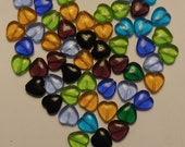 Destash -  56 -  12mm Glass Heart Beads in assorted colors, better than wholesale price