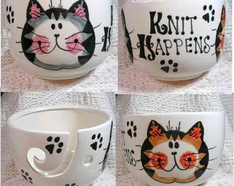 Knit Happens Cats On Yarn Bowl Handmade Original Earthenware Clay by Grace M Smith
