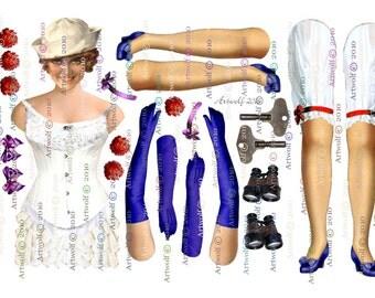 DIGITAL PAPER DoLL SAILOR girl Download Doll Ballerina Papercrafts Scrapbooking Cardmaking