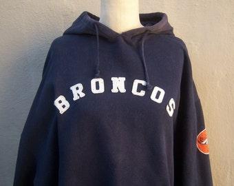 Vintage BRONCOS hoodie / patchwork sweatshirt / Adidas men's hoodie, boyfriend pullover / navy blue XXL 2xl