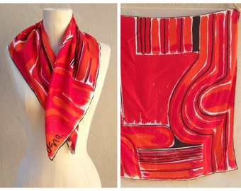 Authentic VERA scarf / Vera Neumann silk scarf / Fiery red orange black / bold, tag, hand rolled edges, 26x27 EXCELLENT