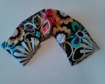 Microwave Heating Pad, Heat Pack or Cold Therapy Wrap/ Neck Shoulder/ Flax Seed, Scented or Unscented -Dark Floral