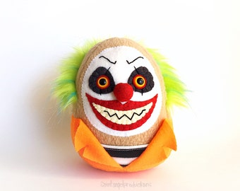 Evil Clown Plushie, Stuffed Creepy Scary Convict Doll, Insane, Crazy Circus, Carnival Plush, READY to SHIP