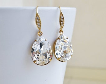 Clearance SALE Swarovski Earrings White Clear Foiled Pear Stone Gold Filled