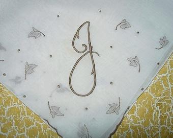Vintage White Hanky With a Tan initial J - Handkerchief Hankie