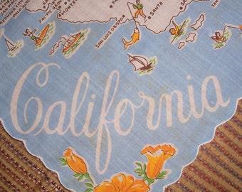 Vintage California State Hanky - Handkerchief Hankie