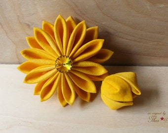 Golden Yellow Chrysanthemum | Kanzashi Flower Hair Clip