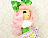 Easter decor Easter doll pink and green tree topper ooak art doll vintage retro inspired Easter centerpiece