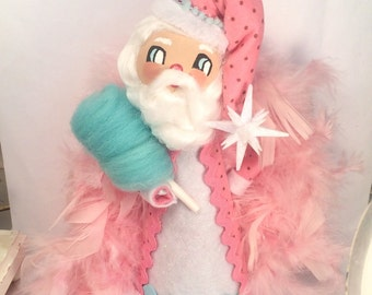 Santa doll with mint greenish blue cotton candy Santa tree toper pink Santa centerpiece Christmas decor pink Santa vintage retro inspired