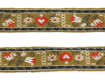 Mustard & Red Heart Floral Woven Vintage Jacquard Ribbon Trim - 3 yards - Sewing Supply, Decorative Ribbon, Tape, Tyrolean Folkloric