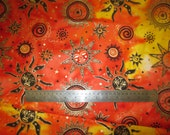 "On sale Stunning hand-dyed batik metallic gold orange celestial sun stars cotton by Odessy, by the half yard 18"" x 44"" wide"