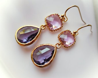 Tanzanite and Light Amethyst drop earrings glass gem top trend dangle earrings gold plated jewelry earrings for women violet lavender purple