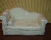 Doll Chaise  - Settee - Off White - Cream -Tone on Tone -  Handmade 18 inch Doll Furniture