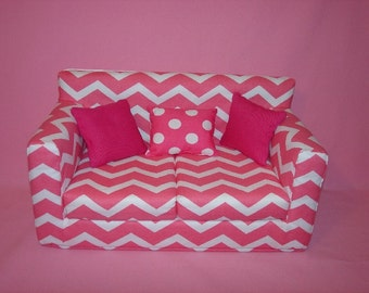 Christmas Sale......10% off--18 Inch Chevron Doll Couch - Pink - White - Modern Handmade Doll Furniture