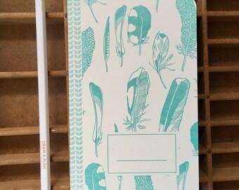letterpress feathers notebook handmade