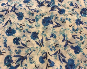 2 Yards of VIntage White with Blue Dahlias Sheer Cotton Fabric