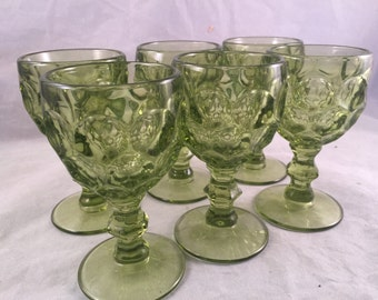 Set of 6 Vintage Green Thumb Print Design Wine Glasses/Stemware