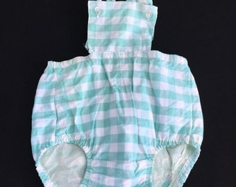 Vintage Mint Green and White Check Baby Romper with Rubber/Vinyl Lining in Bottoms