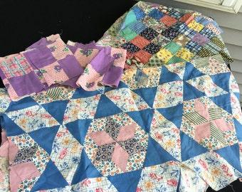Lot of Vintage Variety of Patterns Quilt Blocks