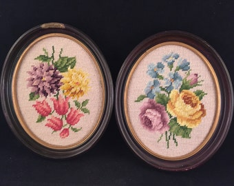 Pair of Vintage Wood Framed Oval Needlepoint Colorful  Flower Pictures