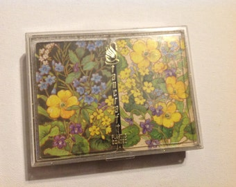Two Decks of Vintage Yellow and Purple Flowers Playing Cards