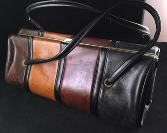 Vintage Brown and Black Ladies' Purse with Double Short Handles