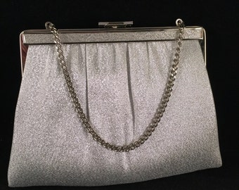 Vintage Silver Lame Clutch Purse/Handbag with Short Chain Handle