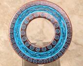 Donut Pendant, Antique Copper & Blue Patina, AC201