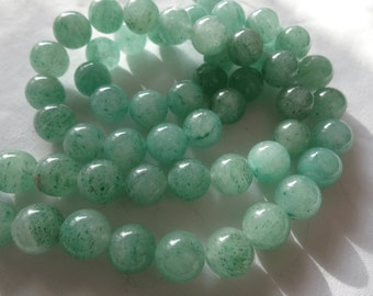 "11 1/4"" Strand Natural Green Aventurine 10mm Round Stone Beads A578"