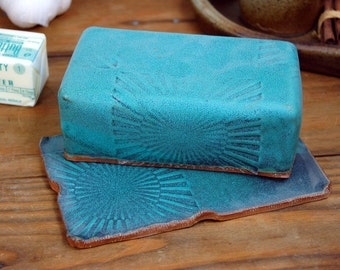 Covered Butter Dish in Turquoise with Sun Texture - Made to Order